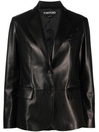 Tom Ford single-breasted Leather Blazer - Farfetch