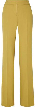 Wool-crepe Wide-leg Pants - Chartreuse