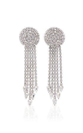 Crystal And Brass Fringe Clip Earrings by Alessandra Rich   Moda Operandi