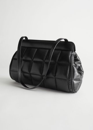 Padded Leather Clutch - Black - Shoulderbags - & Other Stories