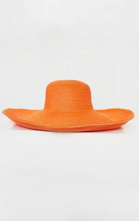 Orange Straw Floppy Wide Brimmed Hat - Accessories   PrettyLittleThing