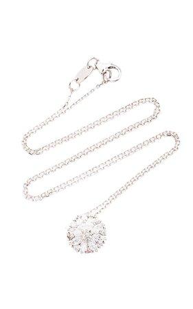 Yeprem Circle Pendant 18K White And Diamond Necklace