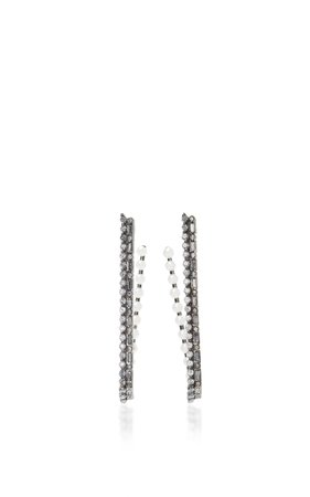 Colette Jewelry 18K Oxidized Gold Diamond and Pearl Hoop Earrings