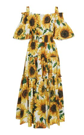 Dolce & Gabbana Off-The-Shoulder Smocked Floral-Print Cotton Maxi Dress
