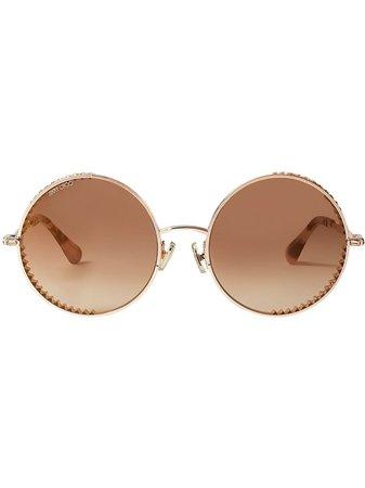 Jimmy Choo Eyewear Goldy round-frame sunglasses brown & gold GOLDYS56EDDB - Farfetch