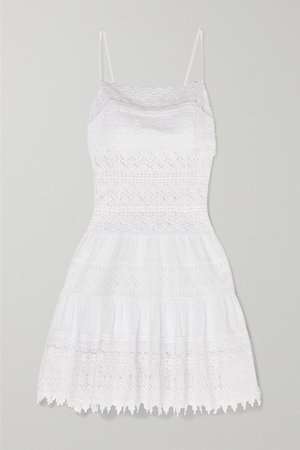 Joya Crocheted Lace-paneled Cotton-blend Mini Dress - White