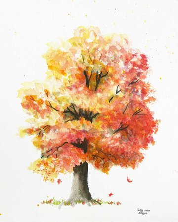 watercolor trees fall red - Google Search
