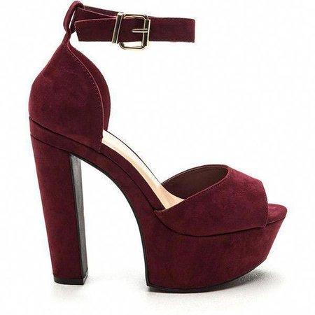 Dark Red/Burgundy Chunky Platform Heels