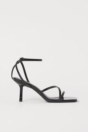 Patent Strappy Sandals - Black