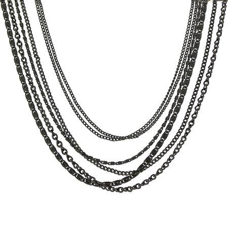 1928 Black-Tone Multi-Chain Necklace