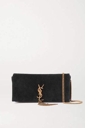 Kate Suede Shoulder Bag - Black