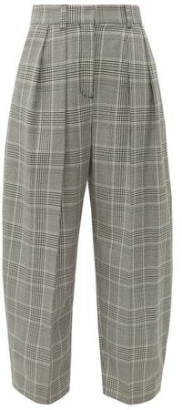 High Rise Check Print Tapered Trousers - Womens - Grey