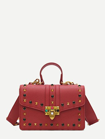 Studded Decor Pebble Embossed Crossbody Bag