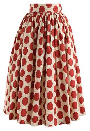 Vintage Red Polka Dot Midi Skirt - Retro, Indie and Unique Fashion