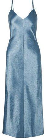 Hammered-satin Midi Dress - Light blue