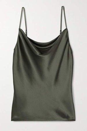 Kay Draped Silk-satin Camisole - Army green