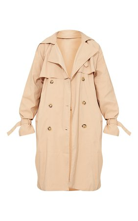 Camel Oversized Belted Midi Trench | PrettyLittleThing USA