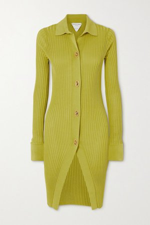 Ribbed Cotton And Silk-blend Cardigan - Bright yellow