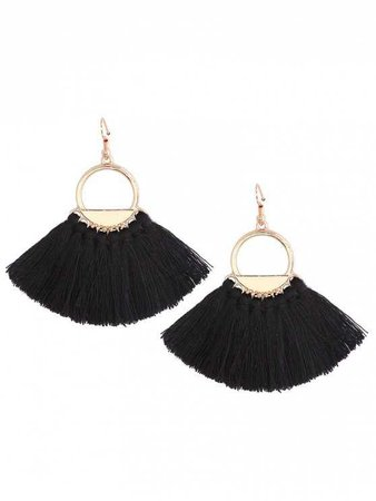Vintage Tassel Circle Fish Hook Earrings BLACK: Earrings | ZAFUL