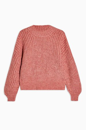 Knitted Banana Sleeve Cropped Jumper   Topshop