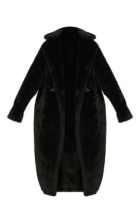 Faux Fur Black Coat | Coats & Jackets | PrettyLittleThing USA