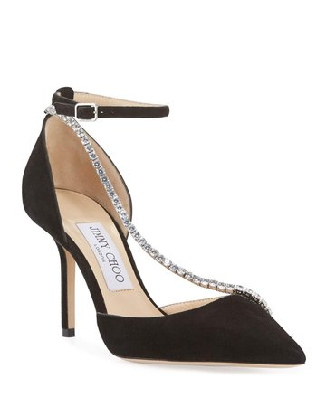 Jimmy Choo Talika Suede Pumps w/ Crystal Chain | Neiman Marcus