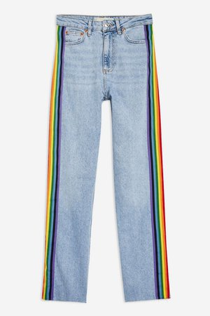 Mid Bleach Raw Hem Rainbow Side Stripe Straight Leg Jeans | Topshop
