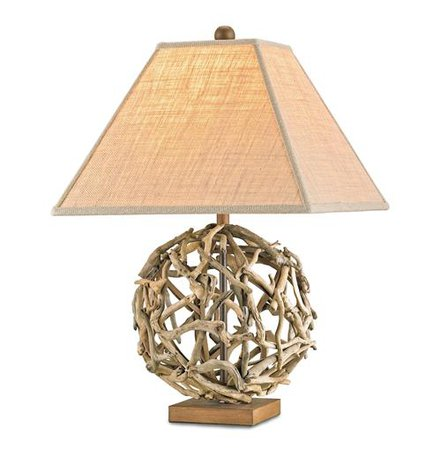 Driftwood Sphere Rustic Beach Style Modern Table Lamp | Kathy Kuo Home