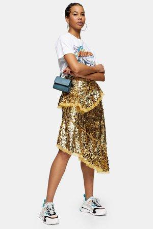 Gold Sequin Ruffle Midi Skirt