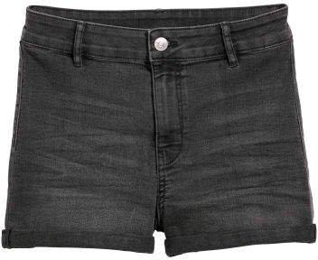 Twill Shorts High Waist - Gray