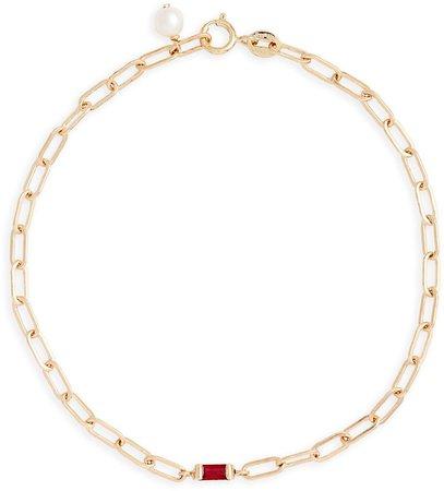 Ruby Baguette Link Bracelet