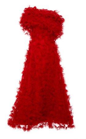 Hand-Embroidered Off-The-Shoulder Tulle Dress by Rodarte | Moda Operandi
