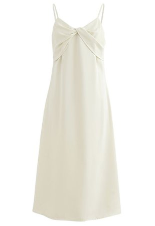 Twist Bust Flare Cami Dress in Cream - Retro, Indie and Unique Fashion