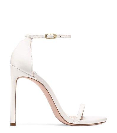 Nudist white high heel sandal