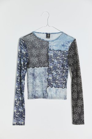 UO Mesh Patchwork Top   Urban Outfitters