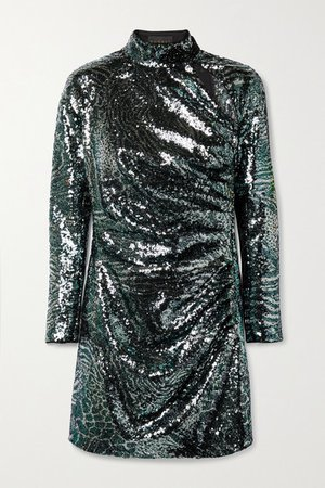 Cutout Sequined Tulle Mini Dress - Black