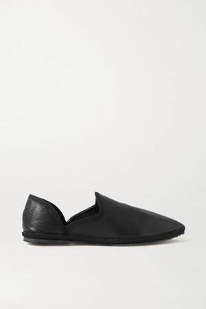 Friulane Textured-leather Slippers - Black