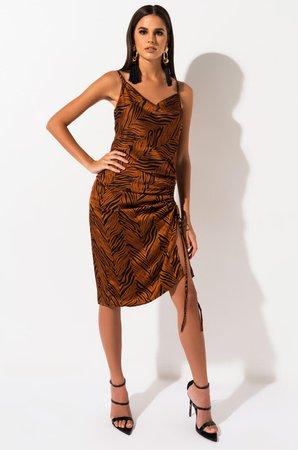 AKIRA Label Tiger Print Satin Draped Ruched Mini Dress in Rust Animal