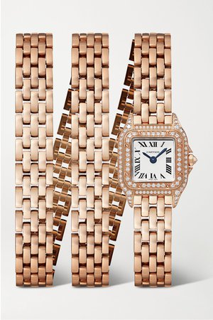 Rose gold Panthère de Cartier Manchette 20mm small 18-karat rose gold and diamond watch | Cartier | NET-A-PORTER