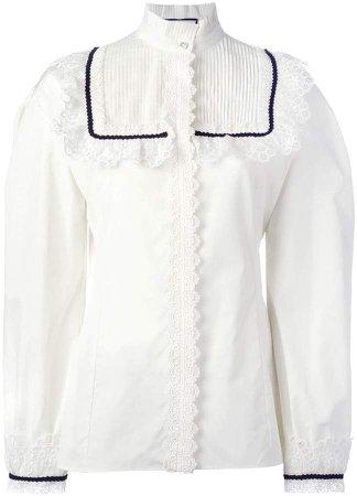pleat and frill yoke blouse