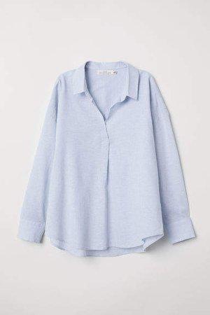 Oversized Linen-blend Shirt - Blue