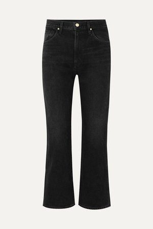 The Cropped A High-rise Straight-leg Jeans - Black