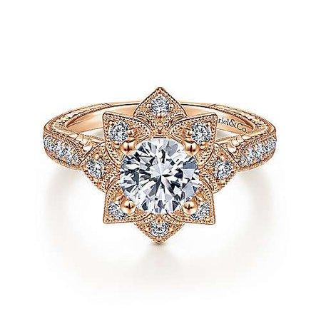 Unique 14K Rose Gold Halo Diamond Engagement Ring   ER14451R4K44JJ   Gabriel & Co