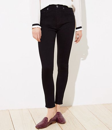 Petite High Rise Skinny Jeans in Black