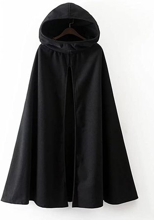 Gothic Hooded Open Front Poncho Cape Coat Outwear Jacket Cloak: Clothing