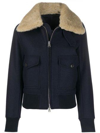 AMI Paris shearling trimmed aviator jacket - FARFETCH