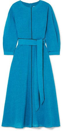Cefinn - Isabel Belted Voile Midi Dress - Blue