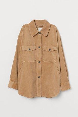 Cotton Shacket - Dark beige/corduroy - Ladies | H&M US