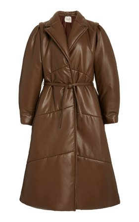 Quilted Belted Vegan Leather Coat by Sea   Moda Operandi