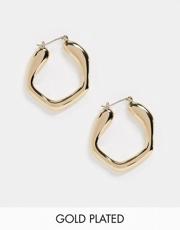 House of Freedom at Topshop abstract hoop earrings in gold plated | ASOS